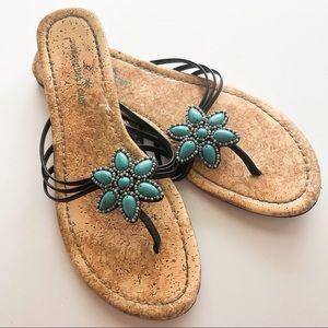 Montego Bay Club Shoes - Montego Bay Club Turquoise Floral Sandal • Size 9